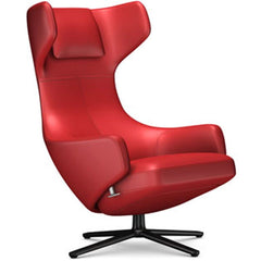 Grand Repos Lounge Chair lounge chair Vitra Basic Dark 16.1-Inch Leather Contrast - Red - 70 +$730.00