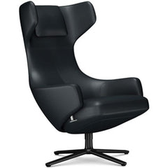 Grand Repos Lounge Chair lounge chair Vitra Basic Dark 18.1-Inch Leather Contrast - Asphalt - 67 +$730.00