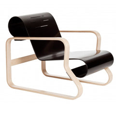 Paimio Armchair 41 lounge chair Artek Natural Lacquered Arms - Black Lacquered Seat