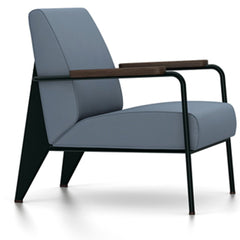 Prouve Fauteuil De Salon Lounge Chair lounge chair Vitra Deep black Oiled Smoked Oak Twill-blue-grey