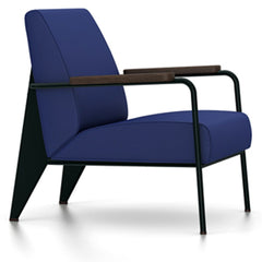 Prouve Fauteuil De Salon Lounge Chair lounge chair Vitra Deep black Oiled Smoked Oak Twill-ink blue