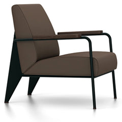 Prouve Fauteuil De Salon Lounge Chair lounge chair Vitra Deep black Oiled Smoked Oak Twill-brown