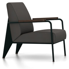 Prouve Fauteuil De Salon Lounge Chair lounge chair Vitra Deep black Oiled Smoked Oak Twill-black