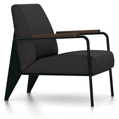 Prouve Fauteuil De Salon Lounge Chair lounge chair Vitra Deep black Oiled Smoked Oak Twill-dark grey