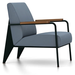 Prouve Fauteuil De Salon Lounge Chair lounge chair Vitra Deep black Oiled American Walnut Twill-blue-grey