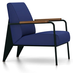 Prouve Fauteuil De Salon Lounge Chair lounge chair Vitra Deep black Oiled American Walnut Twill-ink blue