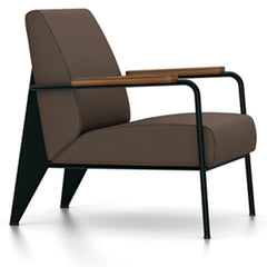Prouve Fauteuil De Salon Lounge Chair lounge chair Vitra Deep black Oiled American Walnut Twill-brown