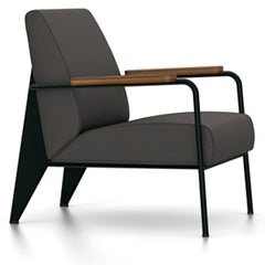 Prouve Fauteuil De Salon Lounge Chair lounge chair Vitra Deep black Oiled American Walnut Twill-black