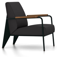 Prouve Fauteuil De Salon Lounge Chair lounge chair Vitra Deep black Oiled American Walnut Twill-dark grey