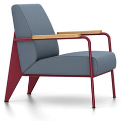 Prouve Fauteuil De Salon Lounge Chair lounge chair Vitra Japanese red Oiled Natural Oak Twill-blue-grey