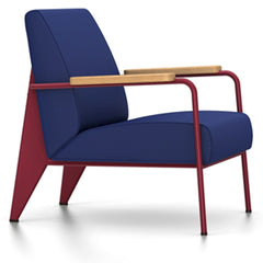 Prouve Fauteuil De Salon Lounge Chair lounge chair Vitra Japanese red Oiled Natural Oak Twill-ink blue