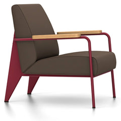 Prouve Fauteuil De Salon Lounge Chair lounge chair Vitra Japanese red Oiled Natural Oak Twill-brown