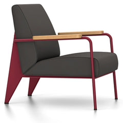 Prouve Fauteuil De Salon Lounge Chair lounge chair Vitra Japanese red Oiled Natural Oak Twill-black