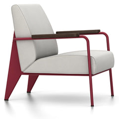 Prouve Fauteuil De Salon Lounge Chair lounge chair Vitra Japanese red Oiled Smoked Oak Twill-light grey