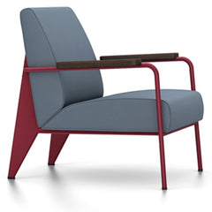 Prouve Fauteuil De Salon Lounge Chair lounge chair Vitra Japanese red Oiled Smoked Oak Twill-blue-grey