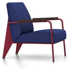 Prouve Fauteuil De Salon Lounge Chair lounge chair Vitra Japanese red Oiled Smoked Oak Twill-ink blue