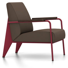 Prouve Fauteuil De Salon Lounge Chair lounge chair Vitra Japanese red Oiled Smoked Oak Twill-brown