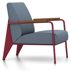 Prouve Fauteuil De Salon Lounge Chair lounge chair Vitra Japanese red Oiled American Walnut Twill-blue-grey