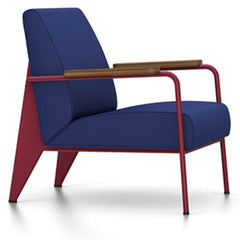 Prouve Fauteuil De Salon Lounge Chair lounge chair Vitra Japanese red Oiled American Walnut Twill-ink blue