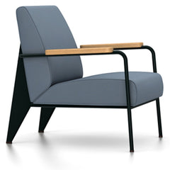 Prouve Fauteuil De Salon Lounge Chair lounge chair Vitra Deep black Oiled Natural Oak Twill-blue-grey
