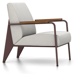 Prouve Fauteuil De Salon Lounge Chair lounge chair Vitra Chocolate Oiled American Walnut Twill-light grey