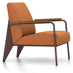 Prouve Fauteuil De Salon Lounge Chair lounge chair Vitra Chocolate Oiled American Walnut Twill-cognac