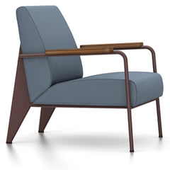Prouve Fauteuil De Salon Lounge Chair lounge chair Vitra Chocolate Oiled American Walnut Twill-blue-grey