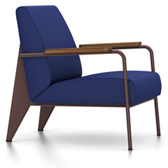 Prouve Fauteuil De Salon Lounge Chair lounge chair Vitra Chocolate Oiled American Walnut Twill-ink blue
