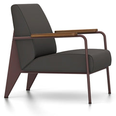 Prouve Fauteuil De Salon Lounge Chair lounge chair Vitra Chocolate Oiled American Walnut Twill-black