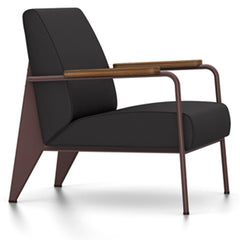 Prouve Fauteuil De Salon Lounge Chair lounge chair Vitra Chocolate Oiled American Walnut Twill-dark grey
