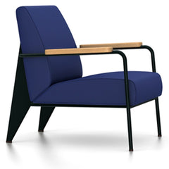 Prouve Fauteuil De Salon Lounge Chair lounge chair Vitra Deep black Oiled Natural Oak Twill-ink blue