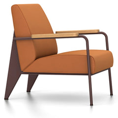 Prouve Fauteuil De Salon Lounge Chair lounge chair Vitra Chocolate Oiled Natural Oak Twill-cognac