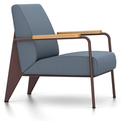 Prouve Fauteuil De Salon Lounge Chair lounge chair Vitra Chocolate Oiled Natural Oak Twill-blue-grey