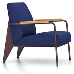 Prouve Fauteuil De Salon Lounge Chair lounge chair Vitra Chocolate Oiled Natural Oak Twill-ink blue