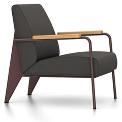 Prouve Fauteuil De Salon Lounge Chair lounge chair Vitra Chocolate Oiled Natural Oak Twill-black