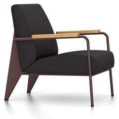 Prouve Fauteuil De Salon Lounge Chair lounge chair Vitra Chocolate Oiled Natural Oak Twill-dark grey
