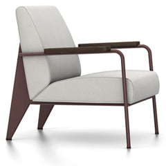 Prouve Fauteuil De Salon Lounge Chair lounge chair Vitra Chocolate Oiled Smoked Oak Twill-light grey