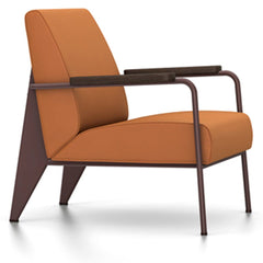 Prouve Fauteuil De Salon Lounge Chair lounge chair Vitra Chocolate Oiled Smoked Oak Twill-cognac