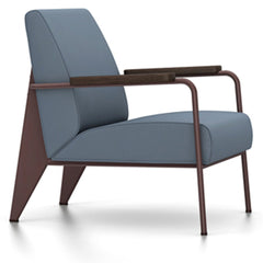 Prouve Fauteuil De Salon Lounge Chair lounge chair Vitra Chocolate Oiled Smoked Oak Twill-blue-grey
