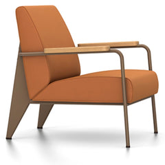 Prouve Fauteuil De Salon Lounge Chair lounge chair Vitra Coffee Oiled Natural Oak Twill-cognac