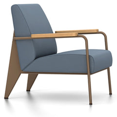 Prouve Fauteuil De Salon Lounge Chair lounge chair Vitra Coffee Oiled Natural Oak Twill-blue-grey