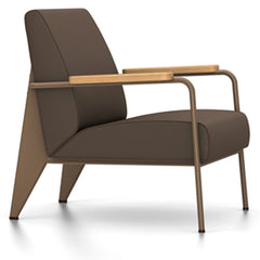 Prouve Fauteuil De Salon Lounge Chair lounge chair Vitra Coffee Oiled Natural Oak Twill-brown