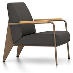 Prouve Fauteuil De Salon Lounge Chair lounge chair Vitra Coffee Oiled Natural Oak Twill-black
