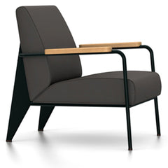 Prouve Fauteuil De Salon Lounge Chair lounge chair Vitra Deep black Oiled Natural Oak Twill-black