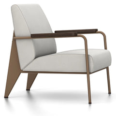Prouve Fauteuil De Salon Lounge Chair lounge chair Vitra Coffee Oiled Smoked Oak Twill-light grey