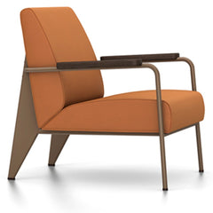 Prouve Fauteuil De Salon Lounge Chair lounge chair Vitra Coffee Oiled Smoked Oak Twill-cognac