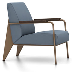 Prouve Fauteuil De Salon Lounge Chair lounge chair Vitra Coffee Oiled Smoked Oak Twill-blue-grey