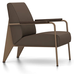 Prouve Fauteuil De Salon Lounge Chair lounge chair Vitra Coffee Oiled Smoked Oak Twill-brown