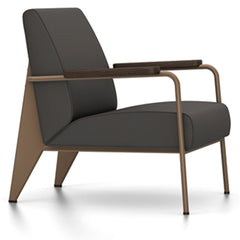 Prouve Fauteuil De Salon Lounge Chair lounge chair Vitra Coffee Oiled Smoked Oak Twill-black