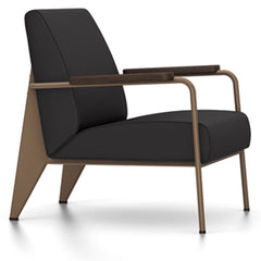 Prouve Fauteuil De Salon Lounge Chair lounge chair Vitra Coffee Oiled Smoked Oak Twill-dark grey